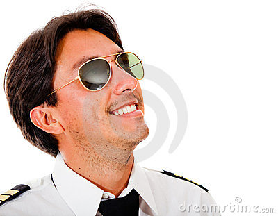 Male pilot looking up