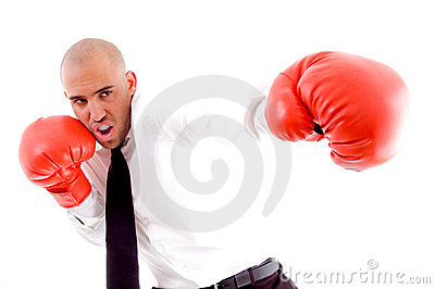 Male posing in boxing gloves