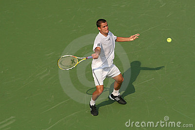 Male Professional Tennis Player Forehand Editorial Photography