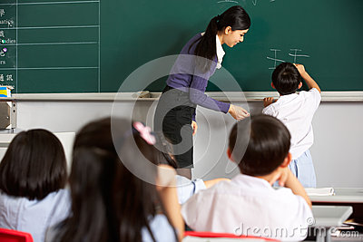 Male Pupil Writing On Blackboard In Chinese School