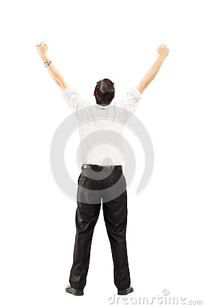 Male with raised hands gesturing happiness