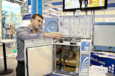 Male research using gas chromatograph inside Editorial Photo