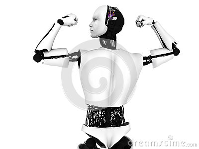 Male robot doing a bodybuilding pose.