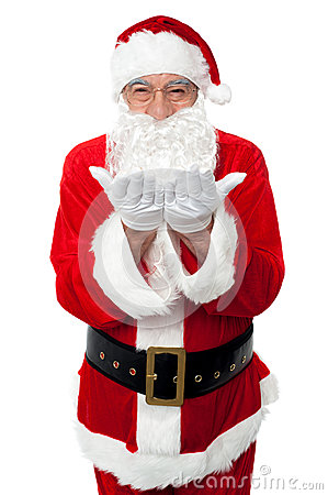 Male santa posing with open palms