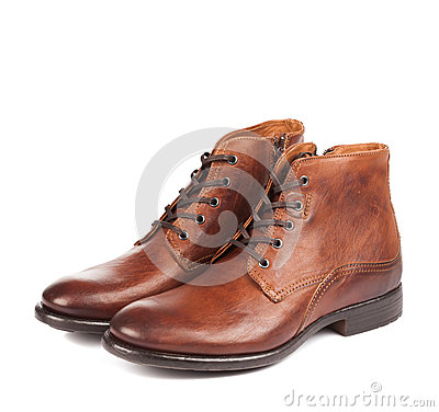 Male shoes brown color on white