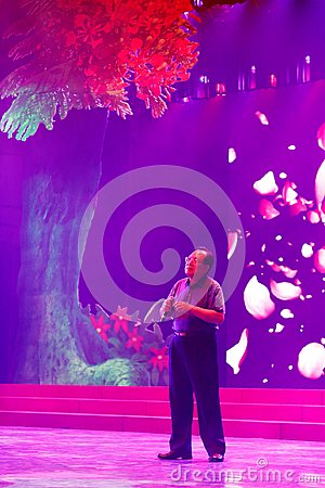 Free Male Singer Huijianxin Sing On Ultra Violet Stage, Srgb Image Royalty Free Stock Image - 111751206