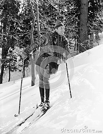 Free Male Skier Skiing Downhill Stock Photo - 52019520