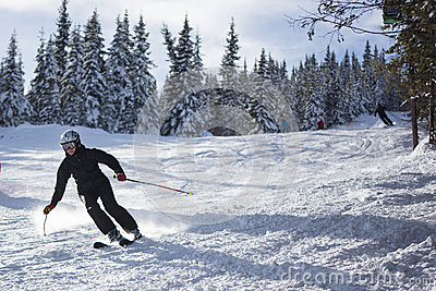 Male skier on the slope