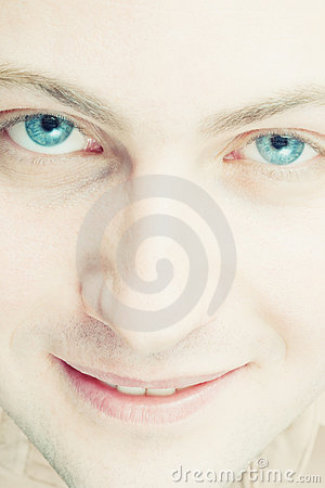 Male smiling with blue eyes