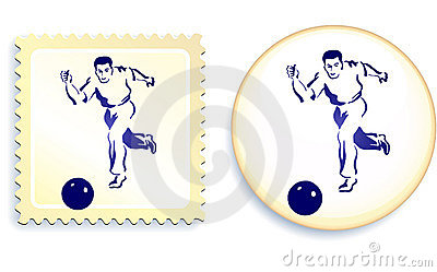 Male soccer (football) player on stamp and button