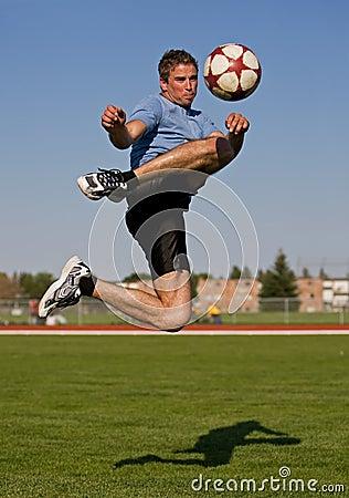 Male soccer kick