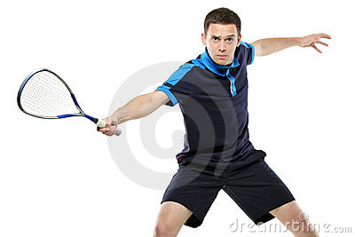 A male squash player playing