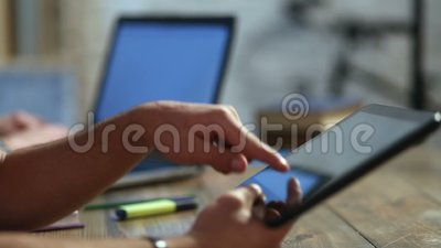 Male student hands using tablet computer. stock video footage