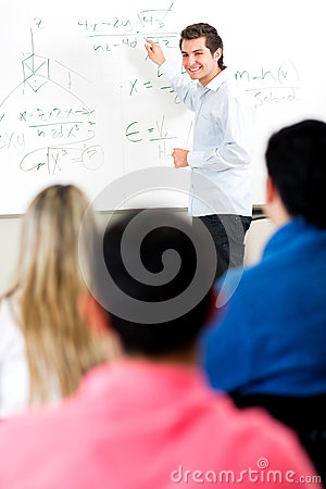 Male student participating in class