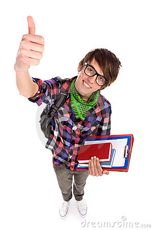 Male student showing thumbs up