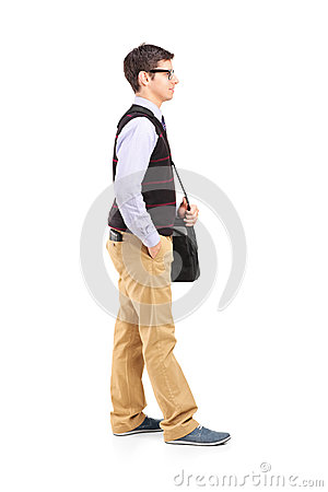 Male student standing in line