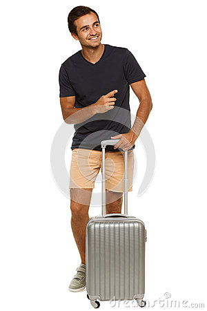 Male with suitcase pointing to side