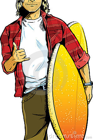 Male surfer dude carrying a surfboard