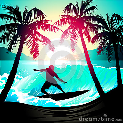 Male surfing at sunrise at a tropical beach Vector Illustration