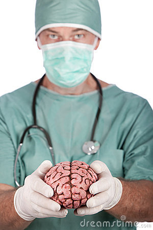 Male Surgeon Holding Brain
