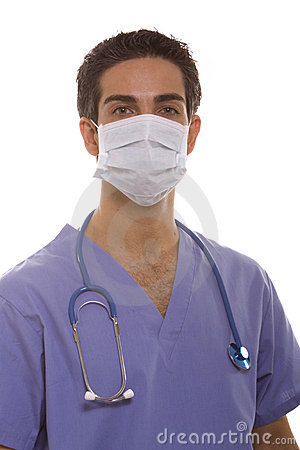 Male surgeon in scrubs