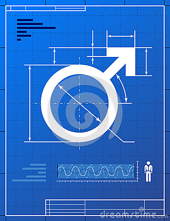 Male symbol like blueprint drawing