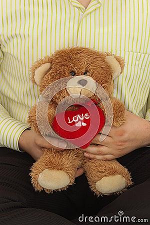Male with teddybear
