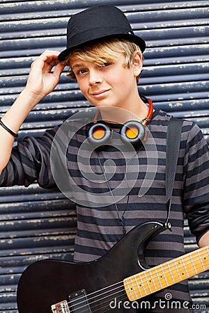 Male teen musician