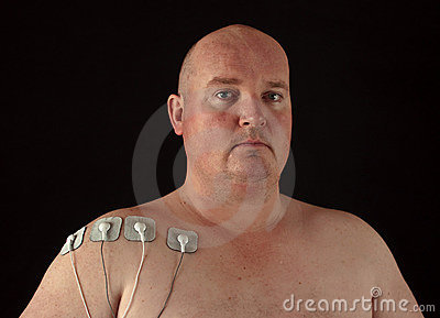 Male with tens senors on his body for massage