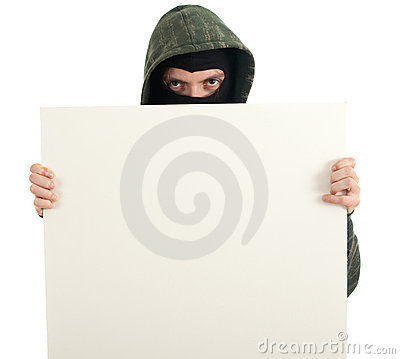 Male thief with blank sign