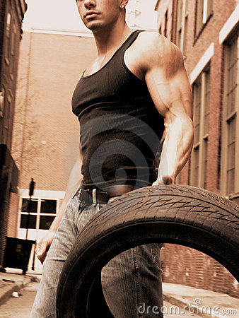 Male with tire