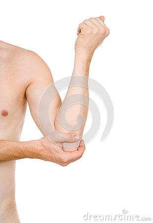 Male torso, pain in elbow