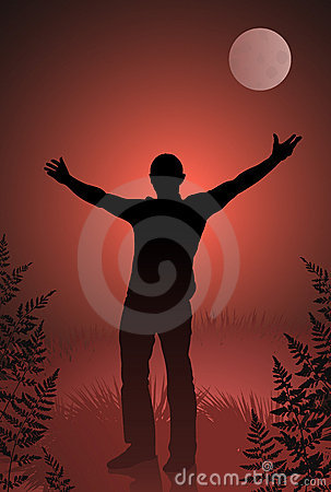 Male vampire with outstretched arms on bloody sky