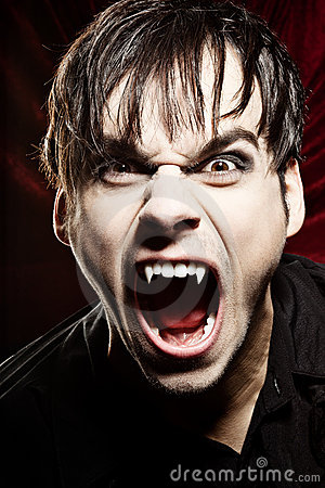 Male vampire screaming