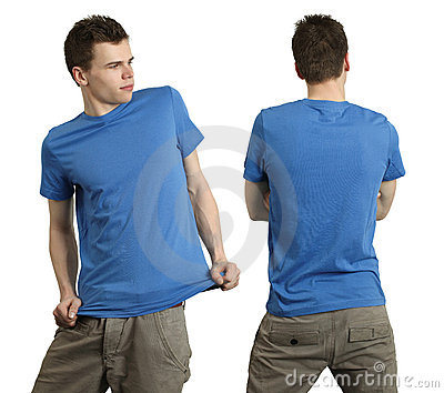 Male wearing blank blue shirt
