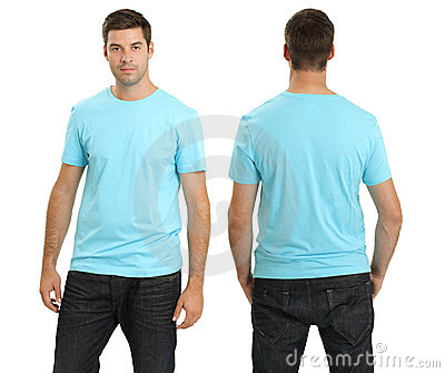 Male wearing blank light blue shirt