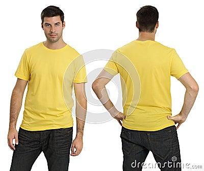 Male wearing blank yellow shirt