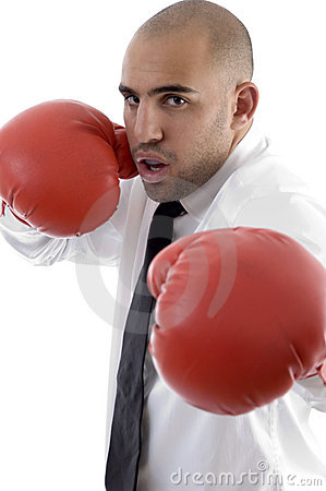 Male wearing boxing gloves