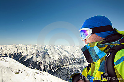 Male wearing ski equipment with copy space
