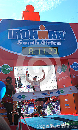 Male winner Ironman South Africa 2013 Editorial Image