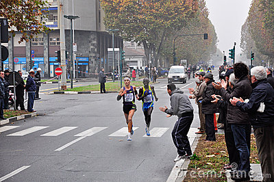 The male winner of the Turin Marathon 2010 Editorial Stock Image