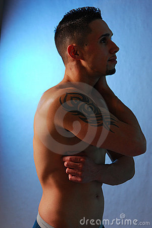 Free Male With Shoulder Tattoo Blue Stock Photo - 3642710