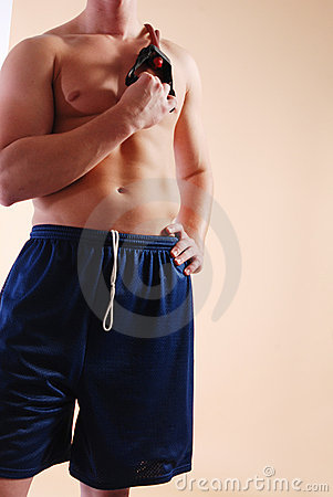 Male with workout straps front