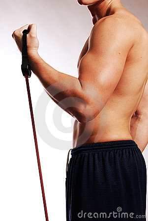 Male with workout straps side