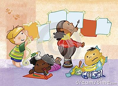 Malende und spielende Kinder