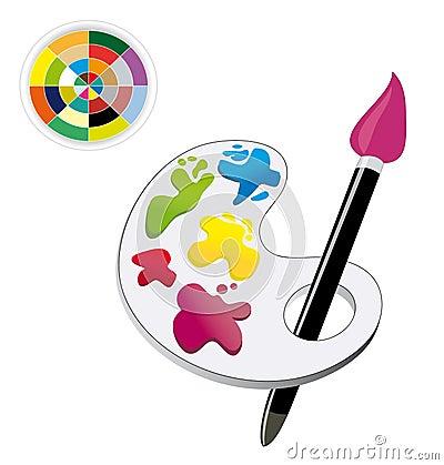 Malerpinsel-, Paletten- u. Farbenspektrum