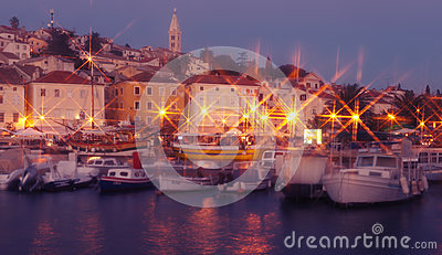 Mali Losinj island town in the evening