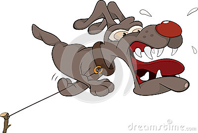 Malicious dog. Cartoon