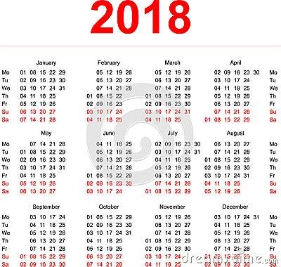 kalender veckor 2018