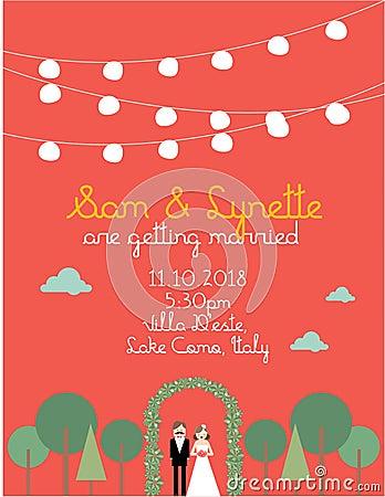 Mall /illustration för bröllopinbjudankort
